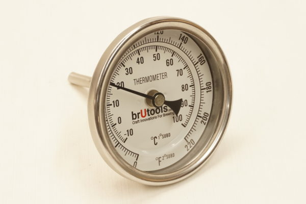 """1/2"""" NPT short stem brewing thermometer with brutools logo."""