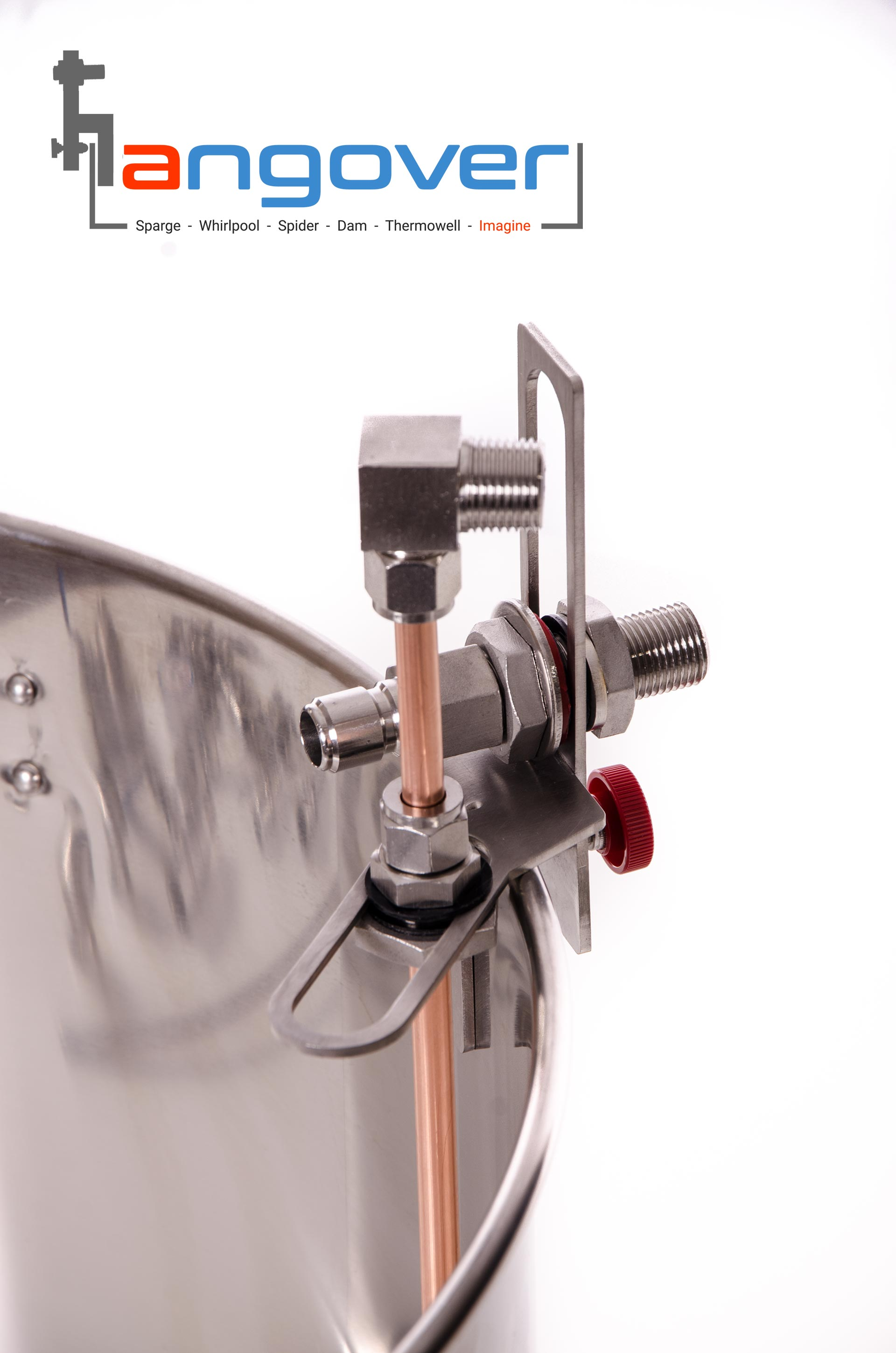 """top side view of copper whirlpool arm attched to a Hangover 1/2"""" NPT adapter for brew kettles."""